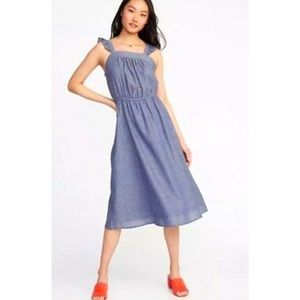 Ruffle Strap Waist-Defined Midi Dress